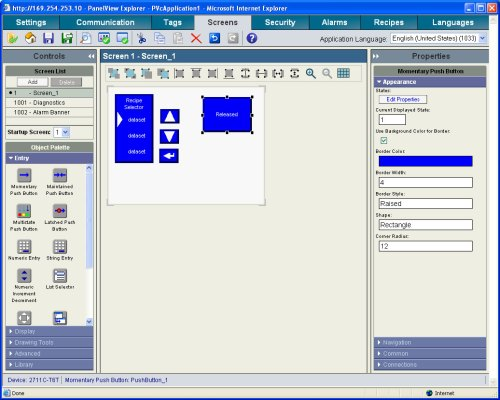 PanelView Component Web Browser Editor
