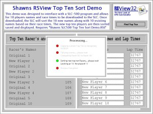 RSView32 Top Ten Sorting Demo