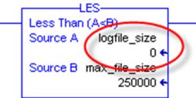 Log to CSV size