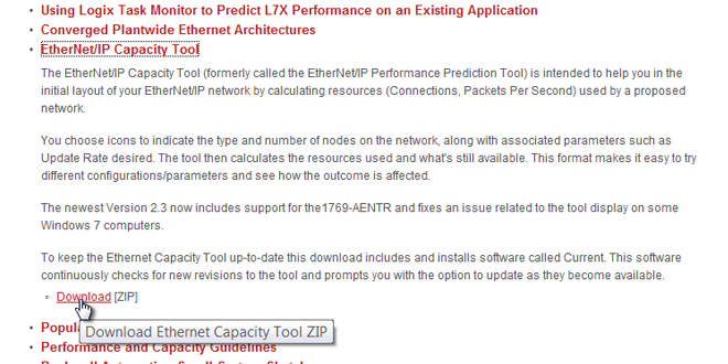 How to get Rockwell's EtherNet IP Capacity Tool