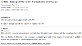 RSLogix 5000 20.04 Tech Note