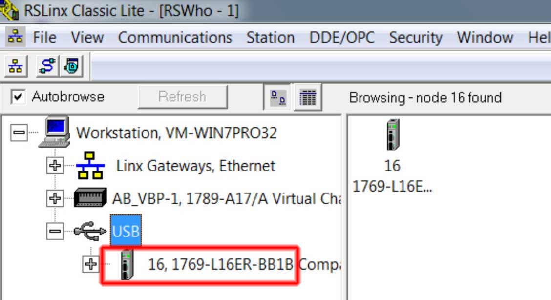 How to connect to a CompactLogix using USB