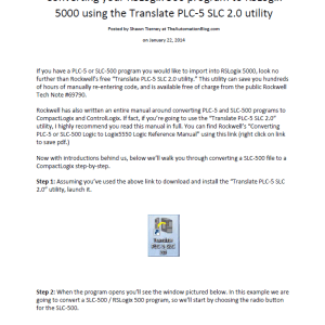 Article - Converting your RSLogix 500 program to RSLogix 5000 using the Translate PLC