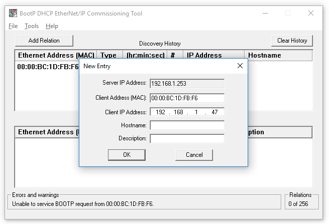 The SLC-5/05: How to set the Ethernet IP Address using BOOTP