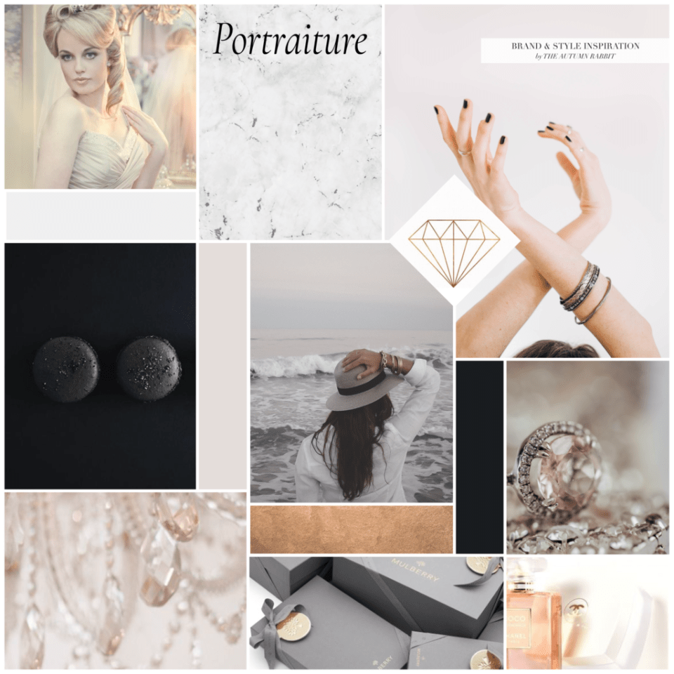 mood board with natural tones of black and copper