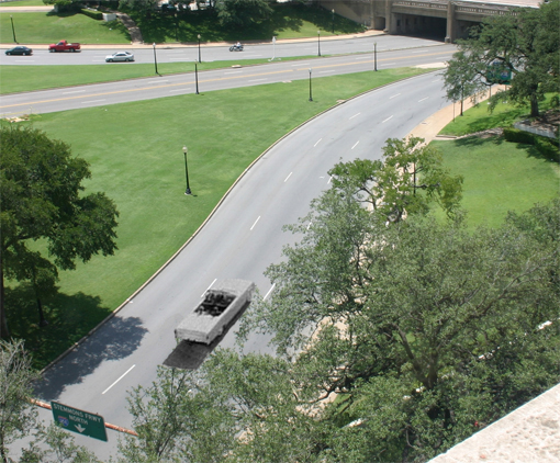 The view from Oswald's perch in the School Book Depository as JFK's motorcade went by