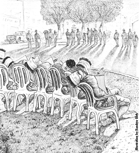 """""""The executions degraded them all equally, the living and the dead."""" [Illustration by Sandow Birk]"""