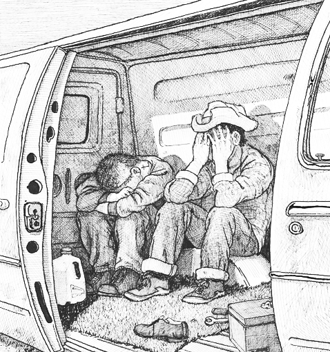 """""""But this is what binds us, Javier told himself. This arduous journey to another country that used to be ours."""" [Illustration by Sandow Birk]"""