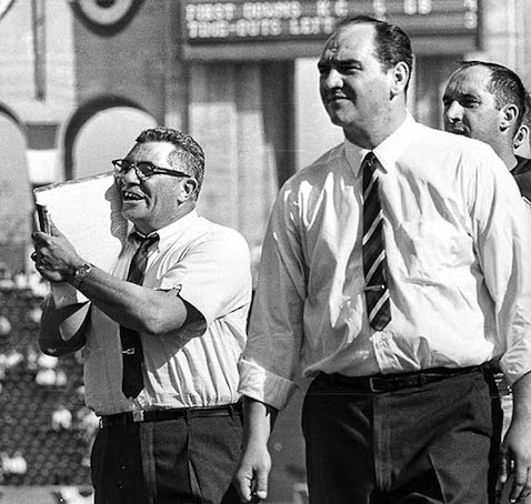 Packers coach Vince Lombardi (L) yelling from sideline (photo by Art Rogers / Los Angeles Times).