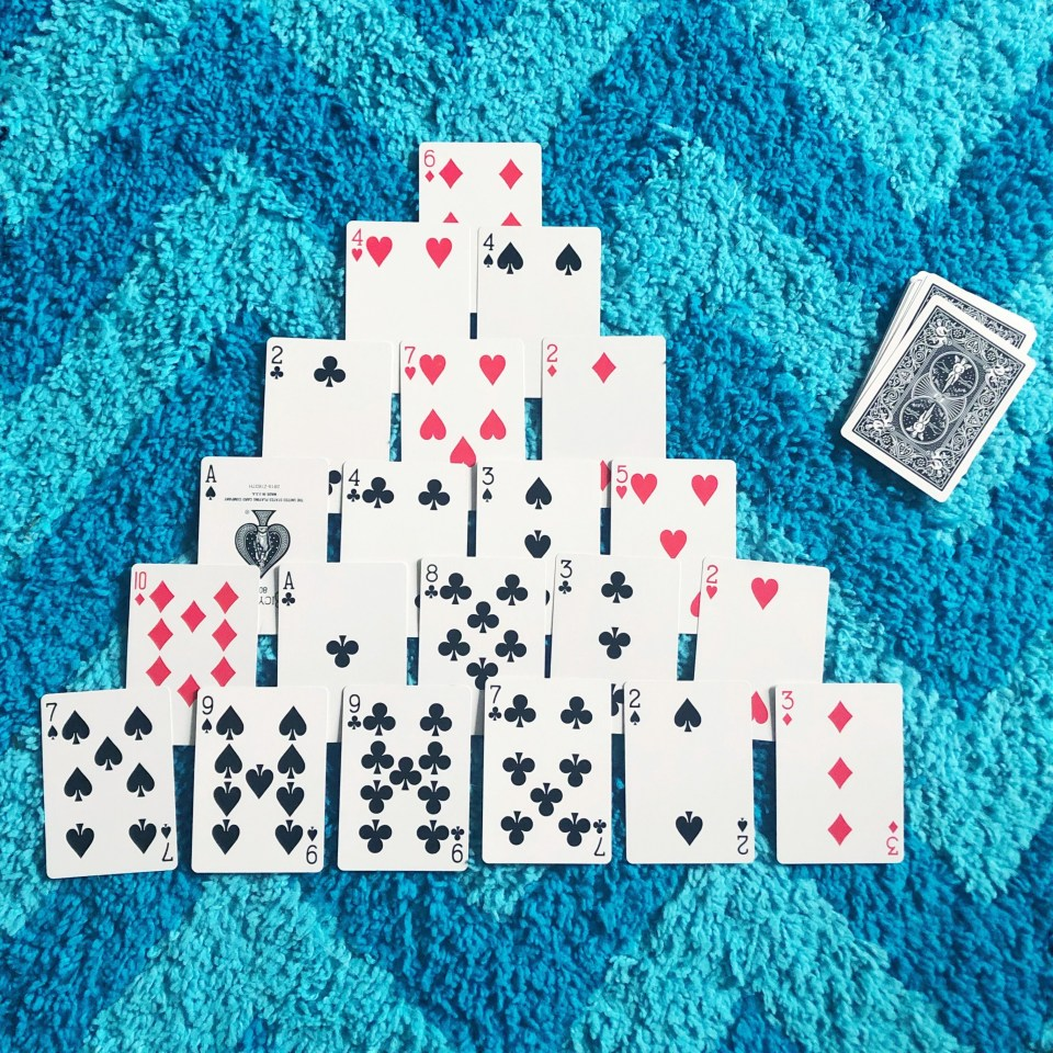 Math games for kids using playing cards - make 10 pyramid