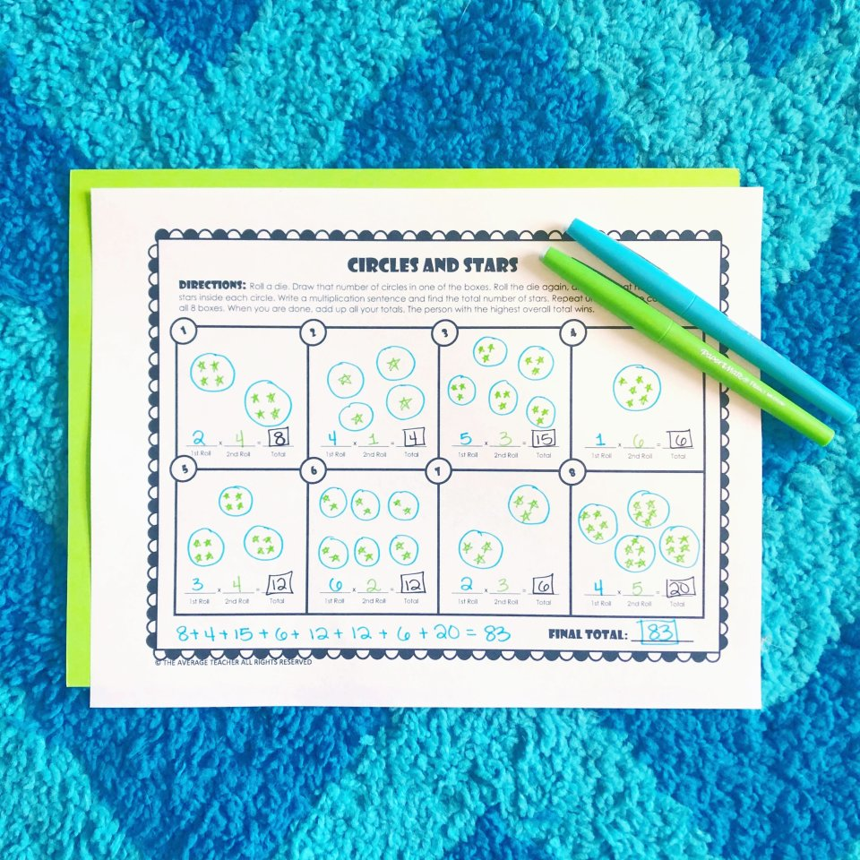 multiplication activities - Circles and Stars