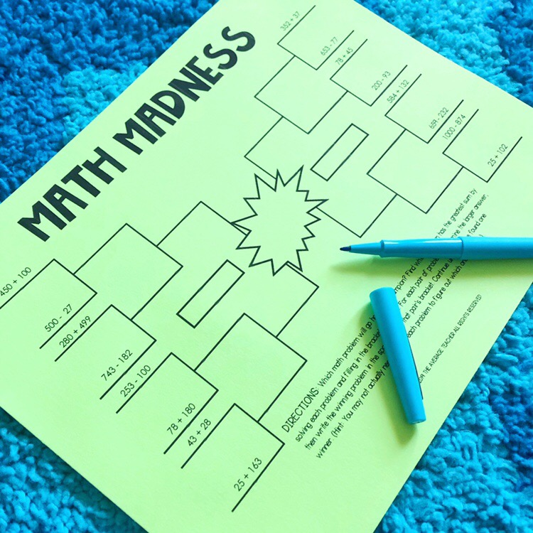 March Madness activities for math