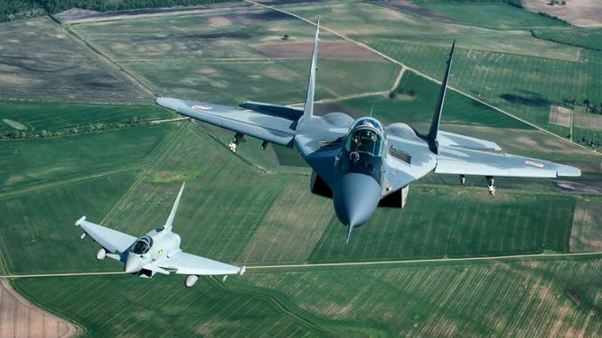 Polish Air Force Mig-29 and Royal Air Force Typhoon jets on