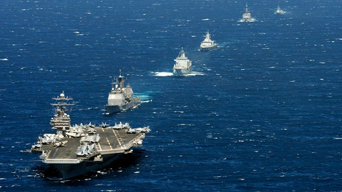 """U S  aircraft carrier and part of its escort """"sunk"""" by French"""