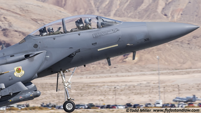 F-15E 57 WG, 17 WPS Nellis AFB returns to Nellis after Red Flag 15-3 sortie