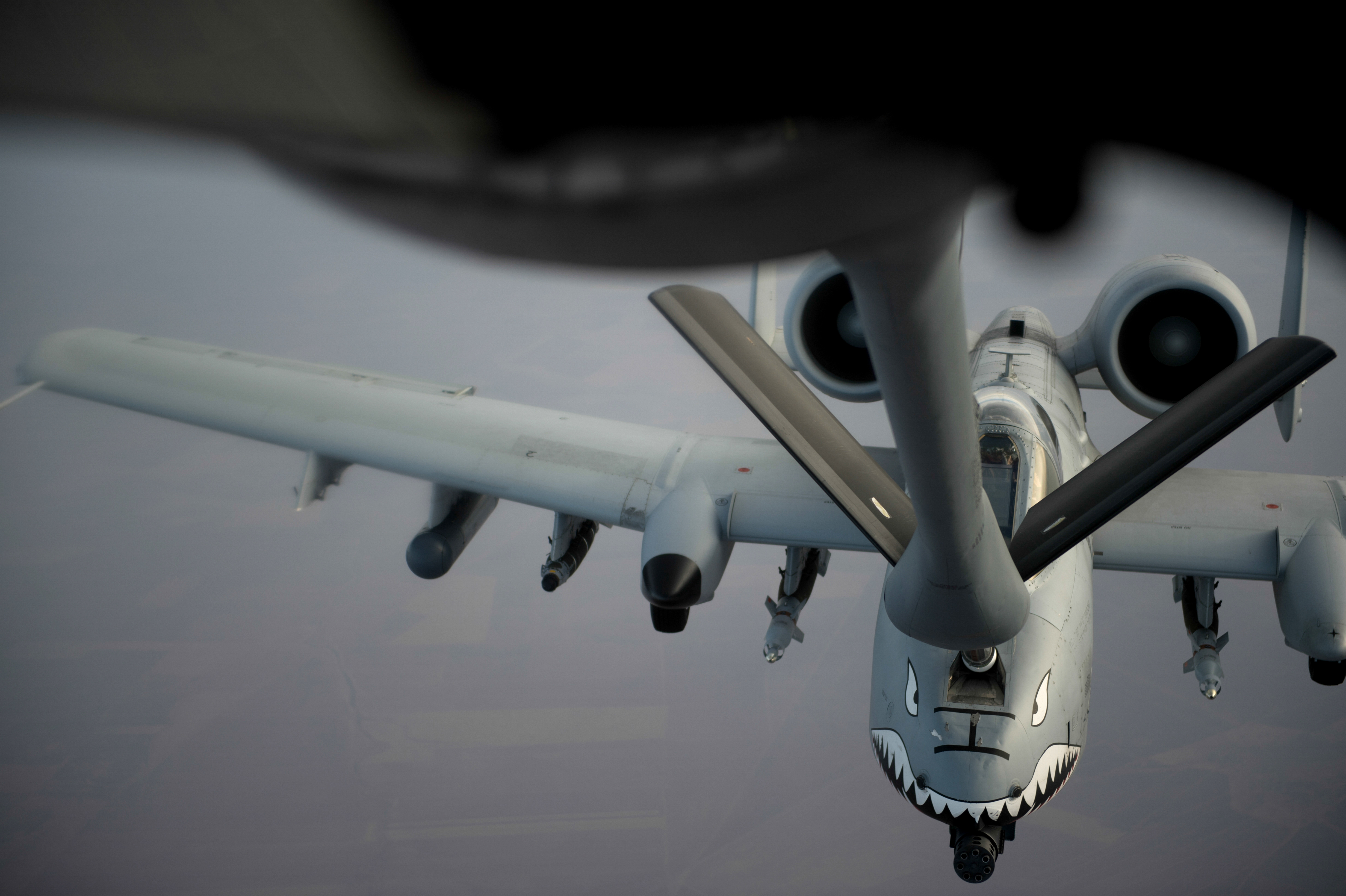 An U.S. Air Force KC-135 Stratotanker from the 340th Expeditionary Air Refueling Squadron refuels an U.S. Air Force A-10 Thunderbolt II over Southwest Asia in support of Operation Inherent Resolve, Oct. 29, 2015. OIR is the coalition intervention against Daesh. (U.S. Air Force photo by Tech. Sgt. Nathan Lipscomb)