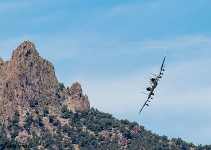 A-10C of the 66 WPS, Nellis AFB turns away from Keno Airfield on the NTTR during JFEX. The A-10C offered close air support in the immediate victinity of the airfield during the Joint Forcible Entry Exercise (June 2016).