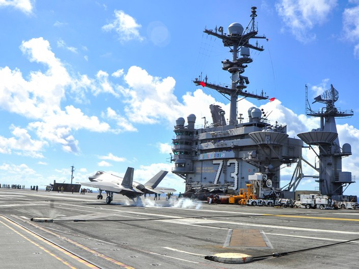 160814-N-MY901-131 ATLANTIC OCEAN (Aug. 14, 2016) An F-35C Lightning II carrier variant assigned to the Grim Reapers of Strike Fighter Squadron (VFA) 101, the Navy's F-35C Fleet replacement squadron, lands on the flight deck of the aircraft carrier USS George Washington (CVN 73). VFA-101 aircraft and pilots are conducting initial qualifications aboard George Washington in the Atlantic Ocean. The F-35C is expected to be Fleet operational in 2018. (U.S. Navy photo by Mass Communication Specialist Seaman Apprentice Krystofer Belknap)