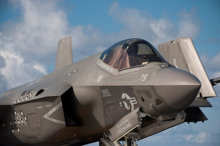 160814-N-XW558-090 ATLANTIC OCEAN (Aug. 14, 2016) Lt. William Bowen taxis in an F-35C Lightning II carrier variant, assigned to the Salty Dogs of Air Test and Evaluation Squadron (VX) 23, on the flight deck of the aircraft carrier USS George Washington (CVN 73). VX-23 is conducting its third and final development test (DT-III) phase aboard George Washington in the Atlantic Ocean. The F-35C is expected to be Fleet operational in 2018. (U.S. Navy photo by Mass Communication Specialist 2nd Class Alex L. Smedegard)