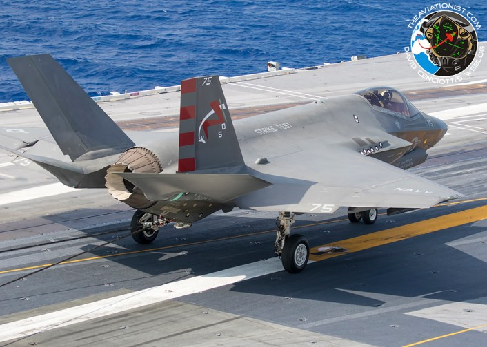"F-35C from VX-23 ""Salty Dogs"" arrested landing, during DT-III on the USS George Washington (CVN-73) August 15, 2016."