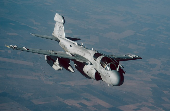 A Marine EA-6B Prowler peels off after refueling from a 340th Expeditionary Air Refueling Squadron KC-135 Stratotanker over Iraq, Nov. 29, 2016. The 340th EARS extend the fight against Da'esh by delivering 60,000 pounds of fuel to USAF A-10 Thunderbolts, F-15 Strike Eagles and U.S. Marine EA-6B Prowlers. (U.S. Air Force photo by Senior Airman Jordan Castelan)