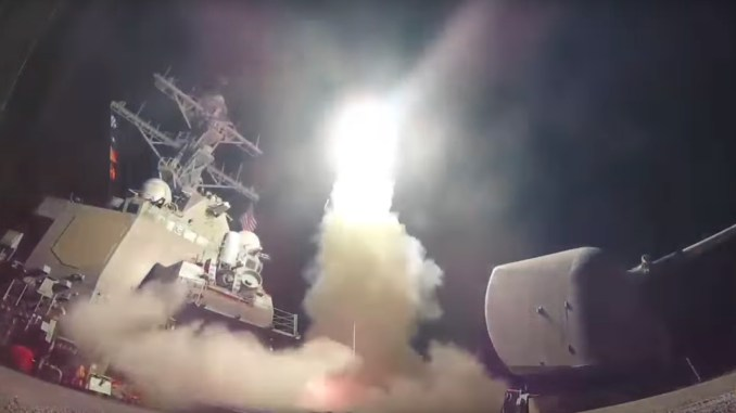 US military has launched 59 cruise missiles at airbase in