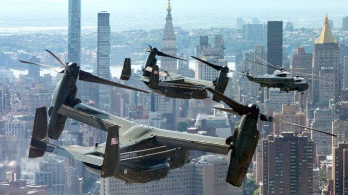 Check Out This Stunning Shot Of Trump's MV-22 Osprey Escort