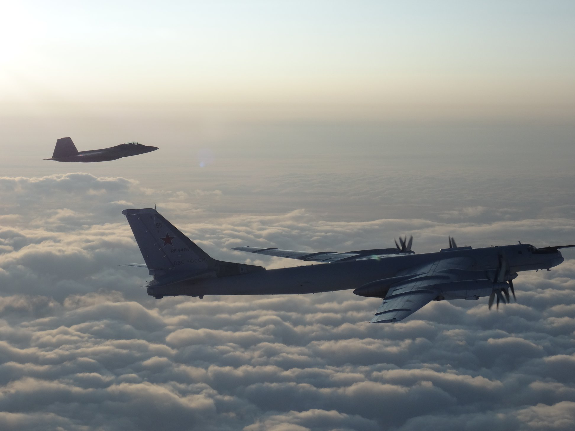 F-22 fighter jets intercept two Russian Tu-95 Bear bombers