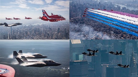 Check Out These Stunning Images Of The Rare NYC Flyover Featuring the Thunderbirds, the Red Arrows, F-22s and F-35s