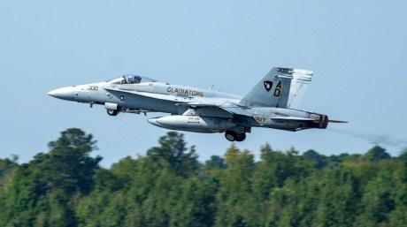 US Navy F/A-18C Hornet Performs Final Active Duty Flight