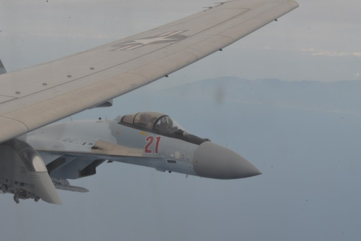 """Su 35 P 8 3 - Photos And Videos Show Russian Su-35s Performing """"Unprofessional Interception"""" of a P-8 in the Med Sea"""