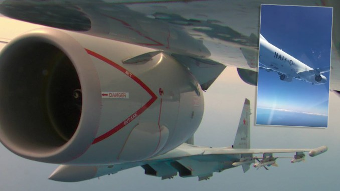 """Su 35 P 8 top - Photos And Videos Show Russian Su-35s Performing """"Unprofessional Interception"""" of a P-8 in the Med Sea"""