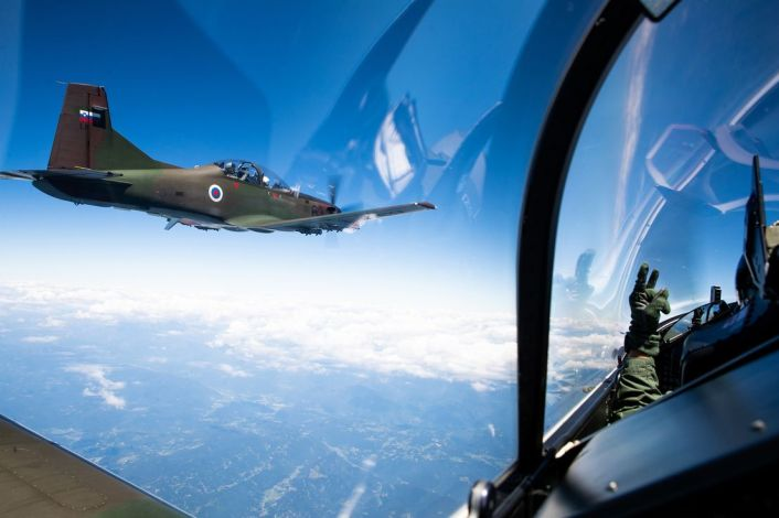 ItAF Slovenian PC 9 cockpit - Italian Typhoons Intercept Slovenian PC-9Ms During Air Policing Training Mission Over Slovenia