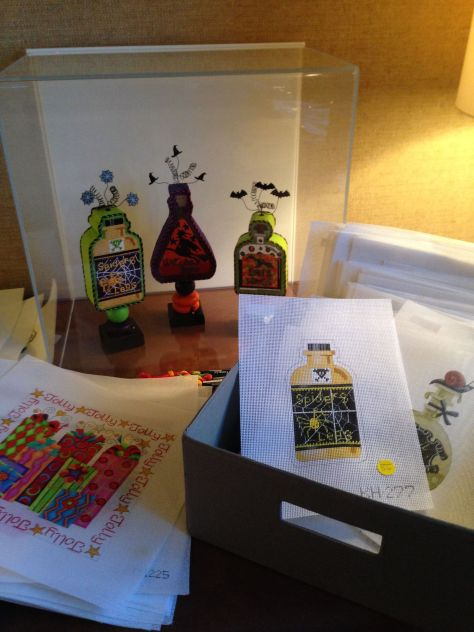 The poison bottles where finished by mum aka The Needlepoint Finisher.