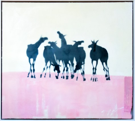 Donkeys On Pink (Encaustic)
