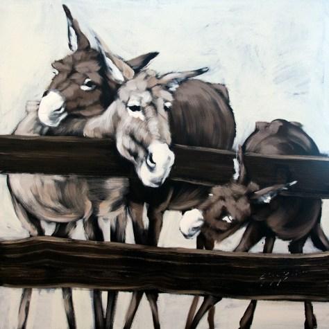 Three Donkeys Behind a Fence