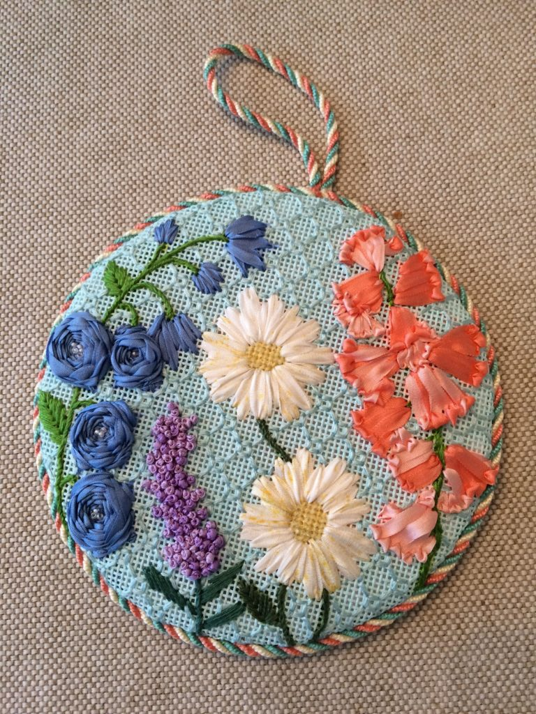 Mum finished the piece for the class that had been stitched by Jinny Barney.