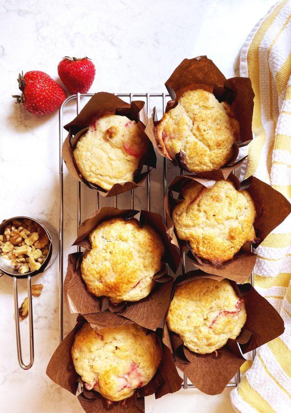 The Yummiest Strawberry Walnut Muffins