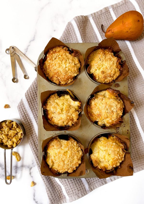 Pear Walnut Muffins with Almond Crumble