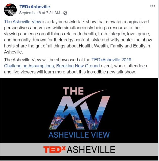 TEDxAsheville's Facebook post about The Asheville View