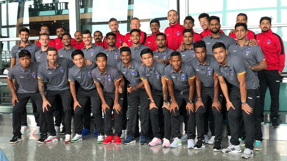 The Delhi Dynamo squad for the camera during their preseason tour. Photo Courtesy: @DelhiDynamos/Twitter