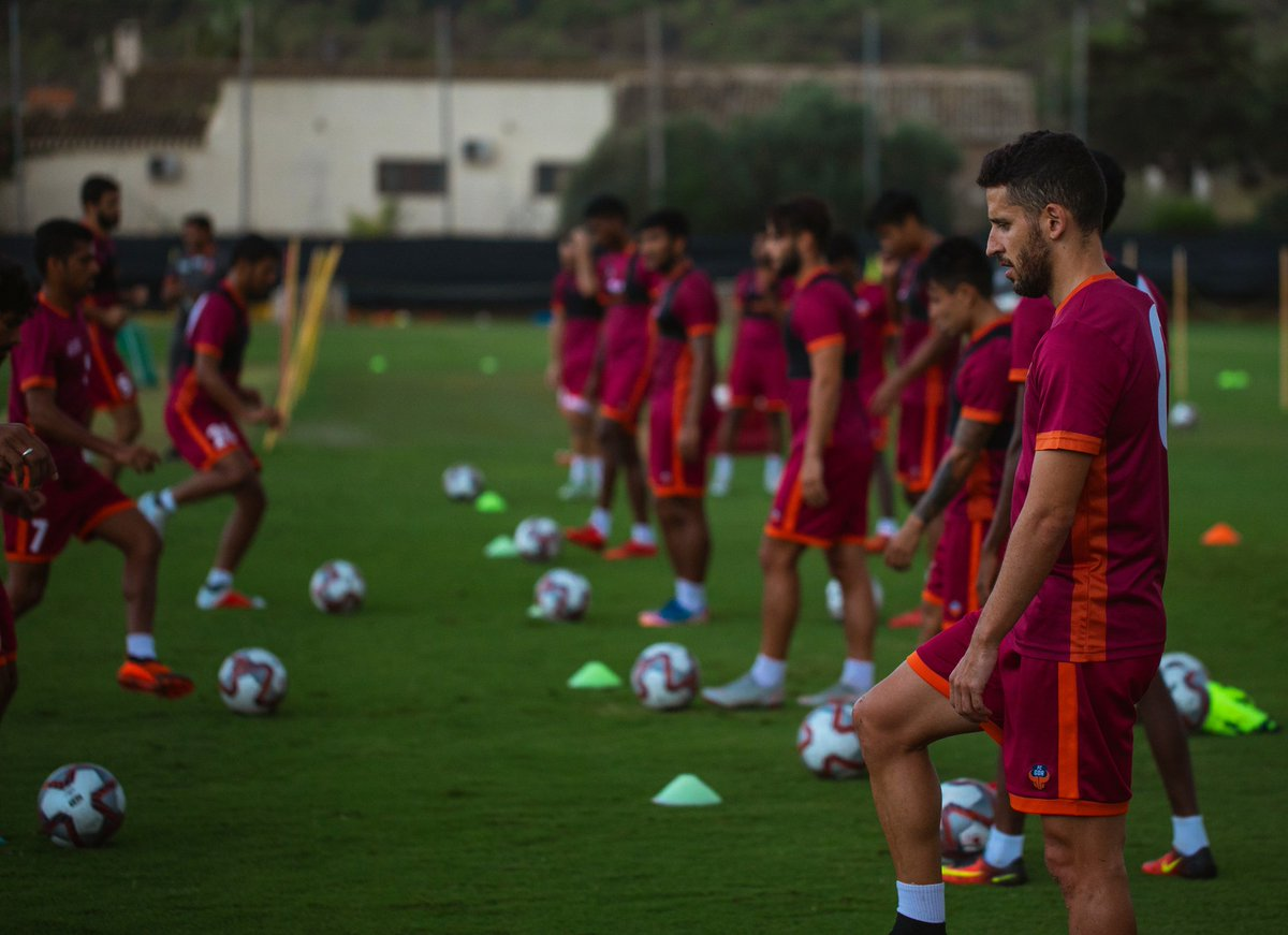 The FC Goa squad at a training session during the preseason in Spain. Photo Courtesy: @FCGoaOfficial/Twitter