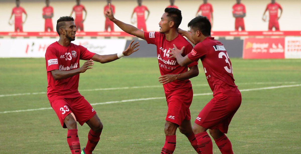 Churchill Brother FC winger, Israil Gurung (center) celebrates after scoring his team's second goal against Aizawl FC in Round 8 of the I-League. Photo Courtesy: @ILeagueOfficial
