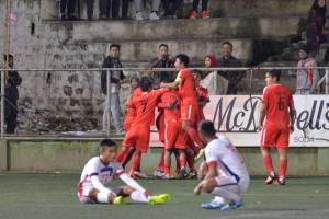 Aizawl FC players celebrate their late goal against Mizoram Police during the first leg of the Mizoram Premier League. Photo Courtesy: Mizoram Football Association