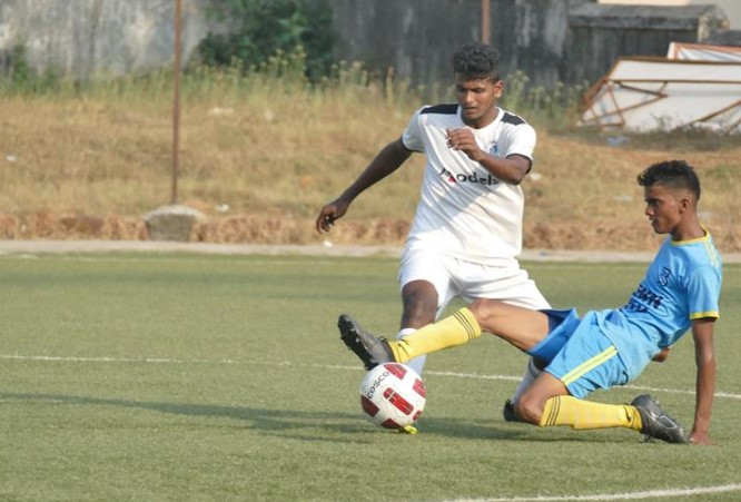 Behind the 8 ball: Panjim Footballers put eight goals past Bardez FC in the Goa Professional League.   Photo Courtesy: Goa Football Association.