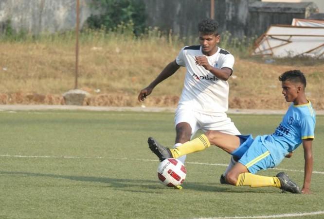 Behind the 8 ball: Panjim Footballers put eight goals past Bardez FC in the Goa Professional League.   Photo Courtesy: Goa Football Association.