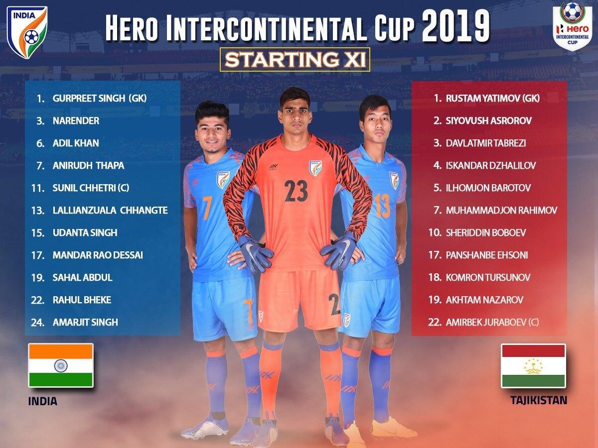 Hero Intercontinental Cup 2019 India vs Tajikistan Starting 11