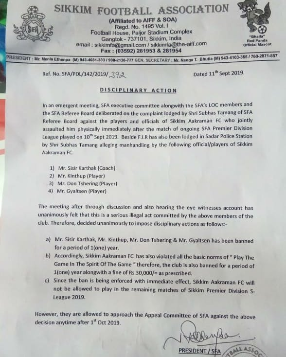 The notice handed to Sikkim Aakraman FC by the Sikkim Football Association.