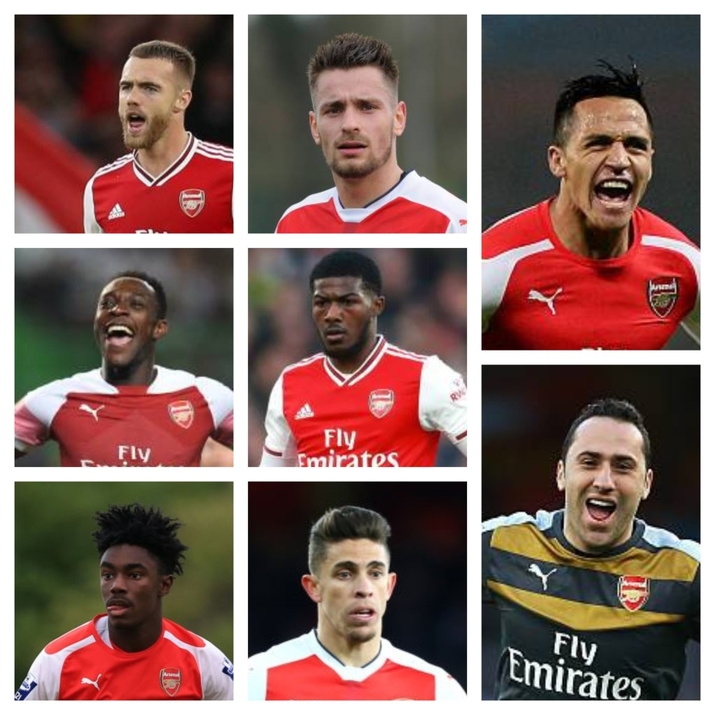 (L to R) Calum Chambers, Mathieu Debuchy, Alexis Sanchez, Danny Welbeck, Ainsley Maitland-Niles, Stefan O'Connor, Gabriel Paulista, David Ospina
