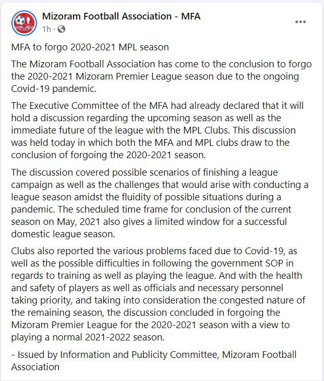 Mizoram Premier League 2020-21 cancelled